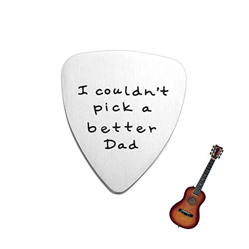 YourGift Dad Gift - I Couldn't Pick a Better Dad Guitar Pick, Custom Gift for Dad Stainless Steel with an Exquisite Velvet Pouch, for Father's Day, Birthday