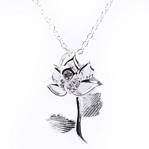 Fashion 925 Sterling Silver Plated Rhinstone Stone Rose Flower Necklace Pendant Valentine's Gift with Box