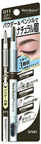 New Born Sana Eyebrow Mascara and Pencil, with Brow Ex N B11 Bitter, Brown