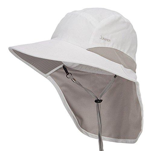 Juniper Microfiber UV Large Bill Flap Hat - White OSFM
