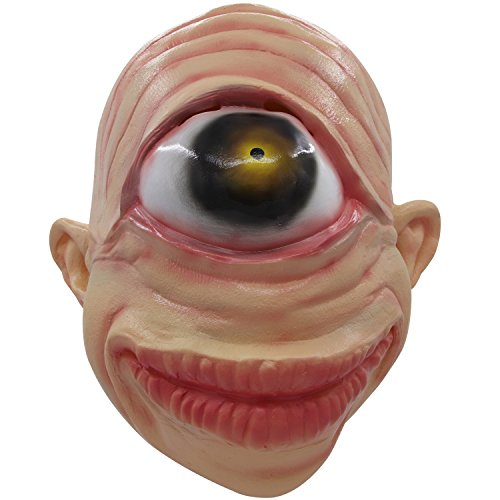 molezu Single Eye Cyclops Mask, Scary Alien Mask Halloween Horror Mask Yellow