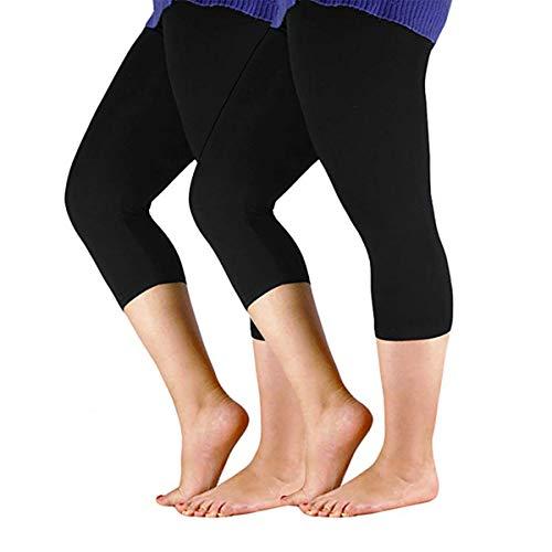 - Century Star Women's Plus Size Elastic Waist Cotton Basic Solid Capri Leggings 2 Pairs Black US 1X Plus-US 2X Plus(Tag 5XL)