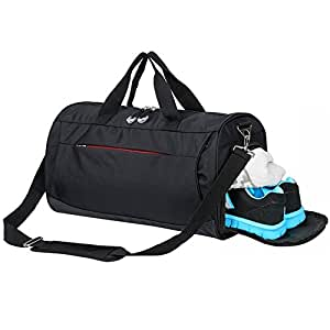 Sports Gym Bag with Shoes Compartment, Waterproof Travel Duffel Bag for Men and Women (Black)