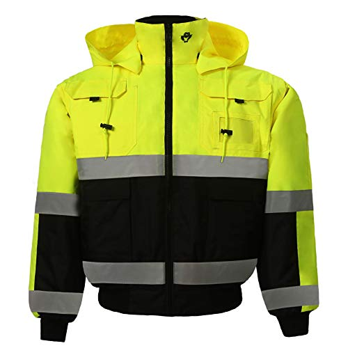 (Safety Depot Safety Jacket Class 3 ANSI Approved 8 Pockets, Reversible Clear ID Pocket, Detachable Hood & 4 Pen Divider slots 350C (Lime, Small))