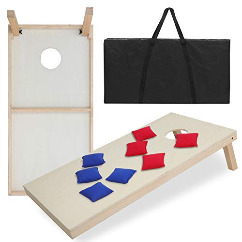 ZENY Solid Wood Bean Bag Toss Cornhole Board Game Set Regulation Size 4ft x 2ft Cornhole Boards & 8 Bags Playset Backyard Outdoor Portable Board Game Set