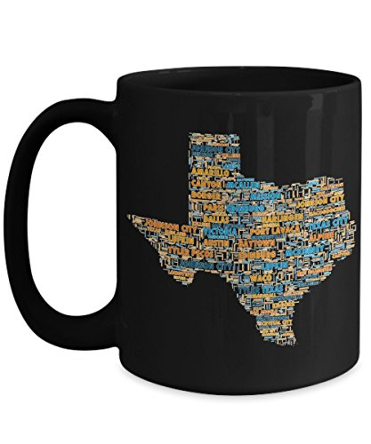 Texas Cities In The Shape Of The State Black 15 oz Coffee Mug