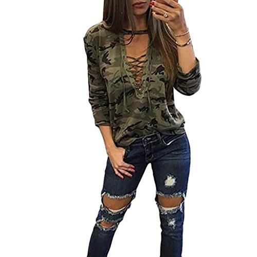 kaifongfu sales, Fashion Women Long Sleeve Shirt Slim Casual Blouse Camouflage Print Tops (L, Camouflage)