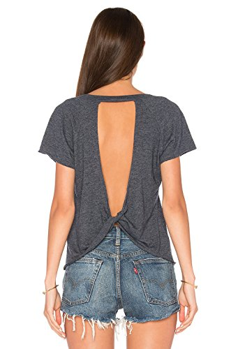 Blooming Jelly Women's Sexy Backless Short Sleeve Top Cut Out Back Knot Casual Shirt Tee, Grey, Small/US 6
