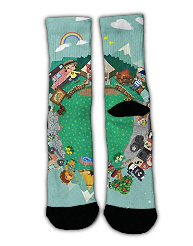 (YEAHSPACE Unisex Camp Backgrounds Cozy Warm Winter Socks Funky Fun Colorful Dress Socks, Assorted Patterns Non-Slip Stockings Slippers Holiday Socks)