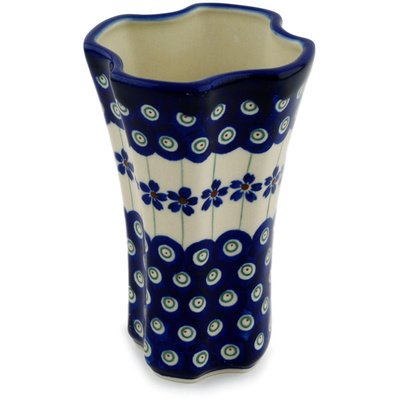 Polmedia Polish Pottery 5-inch Stoneware Vase H9862C Hand Painted from Zaklady Ceramiczne in Boleslawiec Poland. Shape S798C(GU1201) Pattern (Painted Pottery Vase)