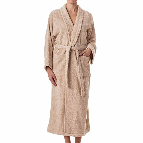 Unisex Terry Cloth Robe - 100% Long Staple Cotton Hotel/Spa Robes - Classic Robes For Men or Women,Taupe,Medium - Long Lightweight 100% Cotton