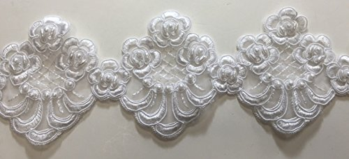 ModaTrims Elegant White Beaded Lace With Pearls For Bridal and Costume; Style: Lns-Bbe-208-White; 3.5
