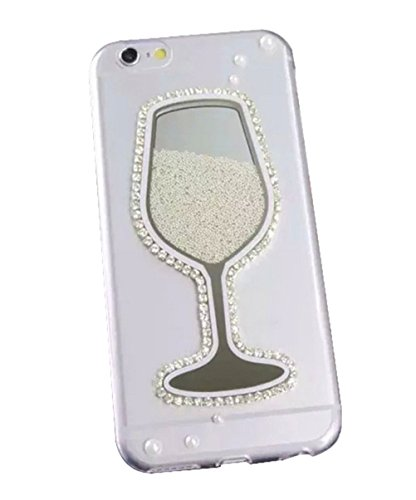 Dreams Mall(TM)Night Style with Diamond Bottle Design 3D Flowing Caviar & Quicksand Case Cover for Apple iPhone 6 Plus 5.5 inch-White