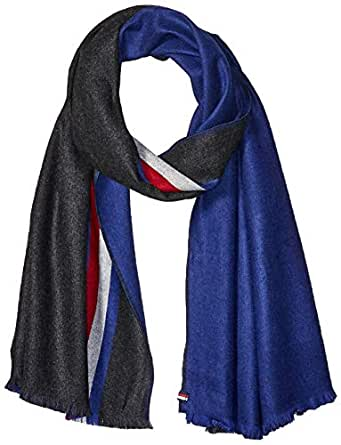 Tommy Hilfiger Men's Stripe Scarf, Charcoal Heather, One Size