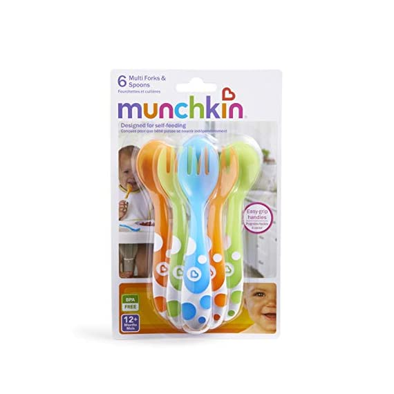 Munchkin 6 Piece Fork and Spoon Set 6 <p>Young kids love emulating mom and dad, and with Munchkin's toddler Multi Forks and Spoons, they can be just like their favorite grownups at the dinner table. The pack includes 3 forks and 3 spoons that are designed to aid self feeding. The large curved handles are designed to make scooping easier and the fork tines are rounded for safety. BPA free and top rack dishwasher safe. Great for boys and girls 12 months and up. Set includes 3 toddler forks and 3 toddler spoons Colors include blue, green and orange Rounded fork tines and spoon for safe self feeding Large handles are easy for toddlers to hold BPA free, top rack dishwasher safe, 12 months and up</p>