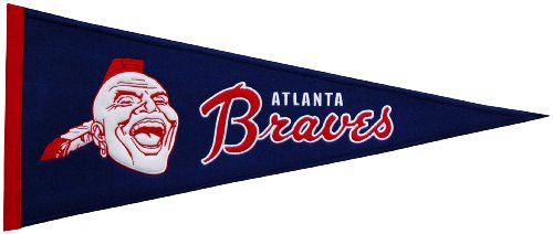 MLB Atlanta Braves Medium Throwback Pennant (Banner Applique Braves Atlanta)
