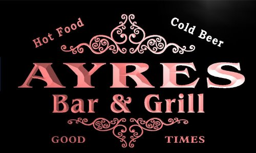 u01754-r AYRES Family Name Bar & Grill Cold Beer Neon Light Sign