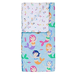 Microfiber Sleeping Bag, Olive Kids by Wildkin Children's Microfiber Sleeping Bag with Matching Pillowcase and Storage Bag, Microfiber, Children Ages 5+ years – Mermaids