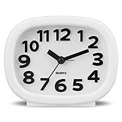HENSE 3D Modern Decorative Arabic Numerals Clock Mute Silent Quiet Non Ticking Analog Quartz Alarm Clock with Night Light HA63 (white)