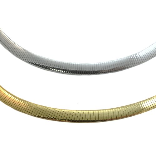 JOSCO 6mm Reversible Omega Chain .925 Sterling Silver Gold Plated Necklace. 16,18,20 Inches (16 - Mm 6 Necklace Omega