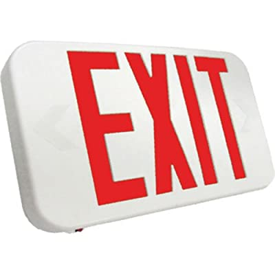 Emergensee Lighting SEEXA2RWEM Compact LED Exit Sign Universal Face, Red Lettering, White, Emergency Backup