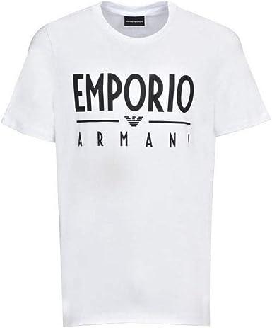 Emporio Armani Camiseta de algodón cuello redondo estampado logo blanco - Blanco - Large: Amazon.es: Ropa y accesorios