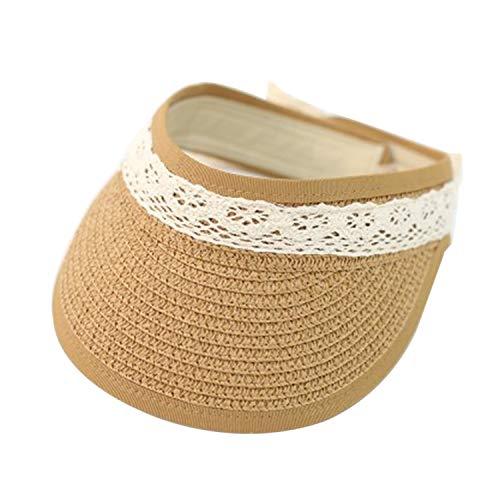 Summer Straw Hats Woman Straw Cap Hat Anti-UV Outdoor Topless Beach Children Visor Kids Sunhat,Khaki]()