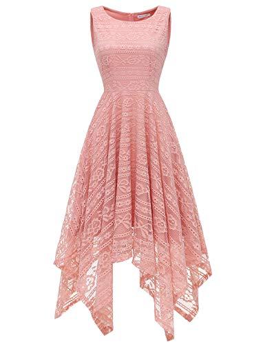 MODECRUSH Womens Scoop Neck Floral Lace Handkerchief Hem Cocktail Party Flowy Dress L Blush ()