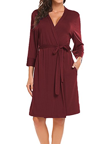 BLUETIME Women Robe Soft Kimono Robes Cotton Bathrobe Sleepwear Loungewear Short (XL, Burgundy) -