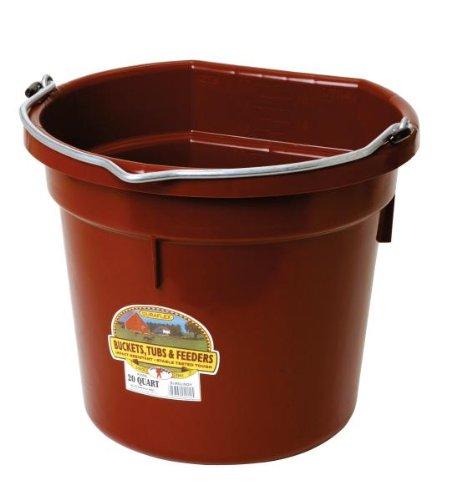 Little Giant Flat-Back Dura-Flex Plastic Bucket, 20-Quart, Burgundy