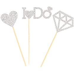 NiceLife I Do Cupcake Toppers 24pcs Engagement Wedding Bridal Shower Party Cake Decorations (Silver)