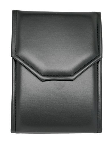 Novel Box Premium Large Black/Black Stitched Leatherette Pearl/Omega Necklace Folder + Custom NB Pouch Black Satin Lined Gift Box