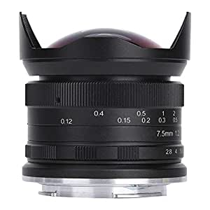 Pomya Lente Gran Angular Fisheye para Canon, 7.5MM F2.8 Lente ...