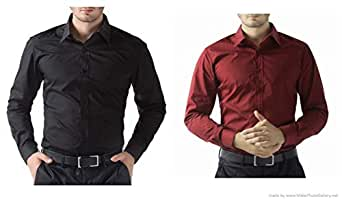 ZAKOD Combo of Plain Cotton Shirts for Men's Wear,Casual Wear Shirts,Available Sizes M=38,L=40,XL=42,100% Pure Cotton Shirts(Combo of 2)