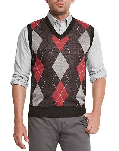 True Rock Men's Argyle V-Neck Sweater Vest (Black/Red/Gray, Medium)