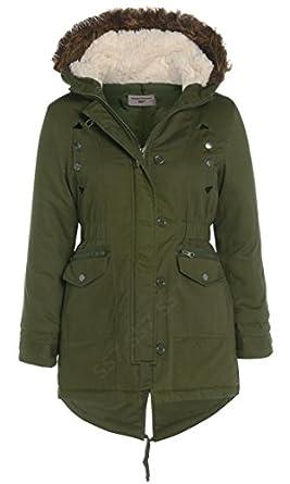 Canvas Parka Coat Khaki Jacket Girls Age 7 - 13: Amazon.co.uk ...
