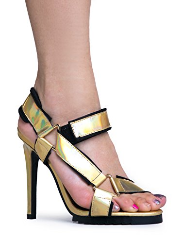 Price comparison product image YRU JOI Asymmetrical High Heel Slingback Velcro Sandal 8