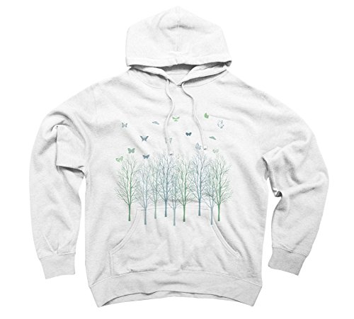 Butterflies and Trees Men's Large White Graphic Pullover Hoodie (Butterfly Hoodie Graphic)