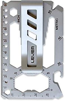 Lever Gear Toolcard Pro con Clip para Billetes - Multi-herramienta 40 en 1 en formato de tarjeta de crédito. Multi Herramienta de Cartera Elegante Minimalista de Acero Inoxidable – Plata Granallada