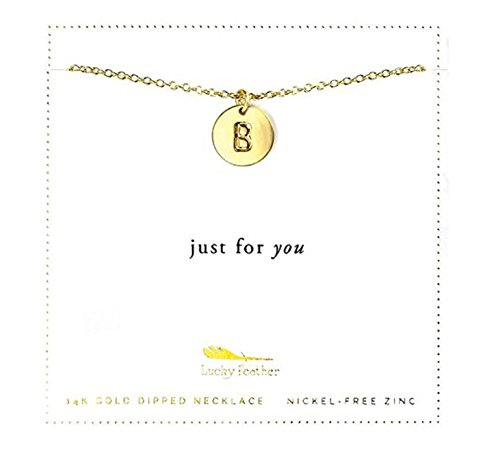 Lucky Feather 14k Gold Dipped Personalized Initial Necklace A - Z Letter Disc Necklace for Women (Necklace 14k Lucky)