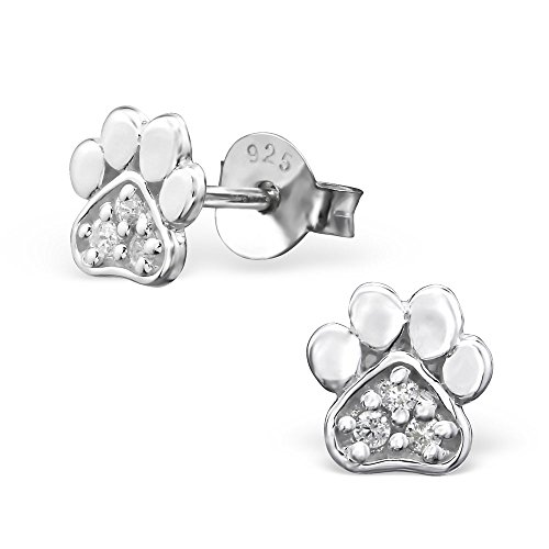 Price comparison product image 925 Sterling Silver Hypoallergenic Crystal CZ Paw Print Stud Earrings for Girls 26020