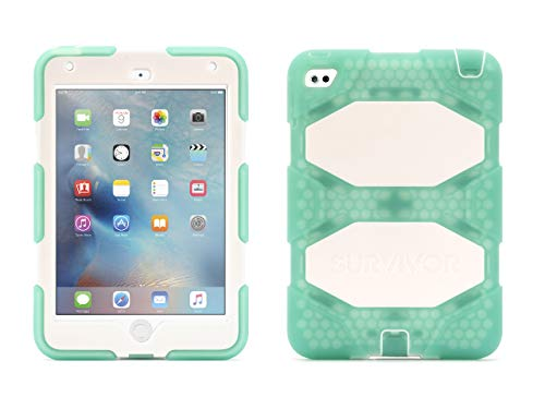 Griffin Survivor All-Terrain iPad Mini 4 Case with Stand - Impact-Resistant and Rugged Design, Green/White