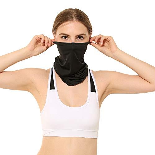 (Dressin Unisex Magic Wide Wicking Headbands Headwear Bandana Sports Scarf Tube UV Face Mask for Workout Yoga Running Black )