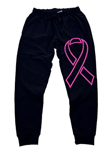 Cancer Fleece Breast (Men's Pink Breast Cancer Ribbon Black Fleece Gym Jogger Sweatpants Large Black)