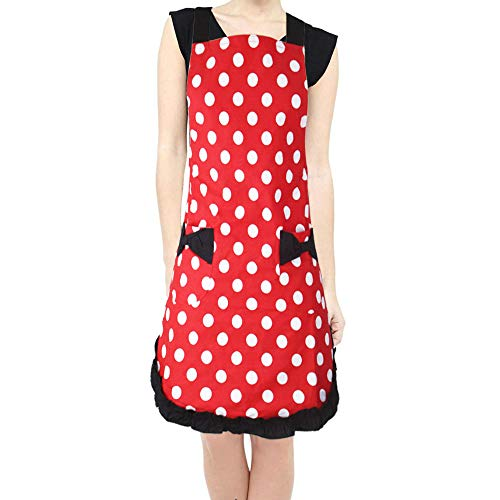 FreeNFond Kitchen Apron Flirty Polka Dot Cooking Aprons with Pockets Retro Vintage Apron for Women Girls (Apron Dot)