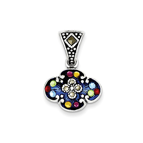 925 Sterling Silver Multicolor Cubic Zirconia Cz Marcasite Pendant Charm Necklace Fine Jewelry Gifts For Women For Her