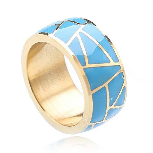 Tomikko 10MM Titanium Steel Blue Enamel Band Men/Womens Silver/Gold Gift Ring Size 7-12 | Model RNG - 25275 | 8 ()