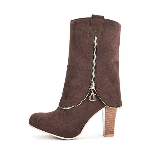 Fashion Heel Nubuck Womens Chunky Heel Round Toe Zip Mid Calf Boot Brown bGV3c