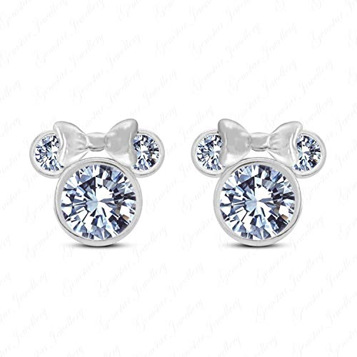 (Gemstar Jewelley Simulated Diamond Stud Disney Minnie Mouse Earrings 925 Sterling Silver 14k Gold Plated)