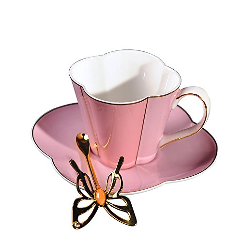 (Yosou Home Bone China Flower Gold-Embossed Coffee Mug&Tea Cup Spoon and Saucer Set in Gift Box -for coffee tea milk-Gifts for Couple, Friend,Mother's Day and Father's Day -Pink)